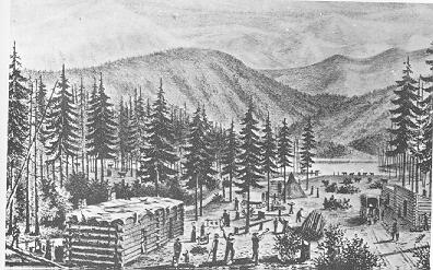 Drawing of cabins at the lake