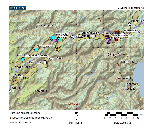 Map of the Snowshoe Party over the mountains