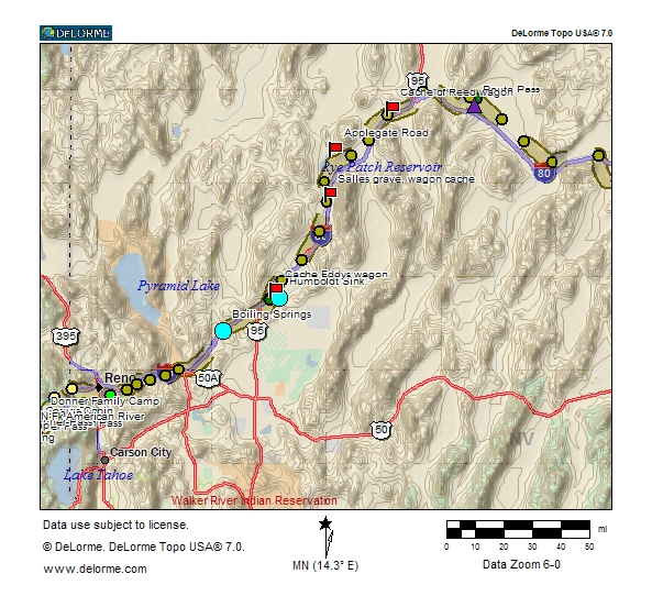 Map of Trail from the Humboldt River to Donner Pass
