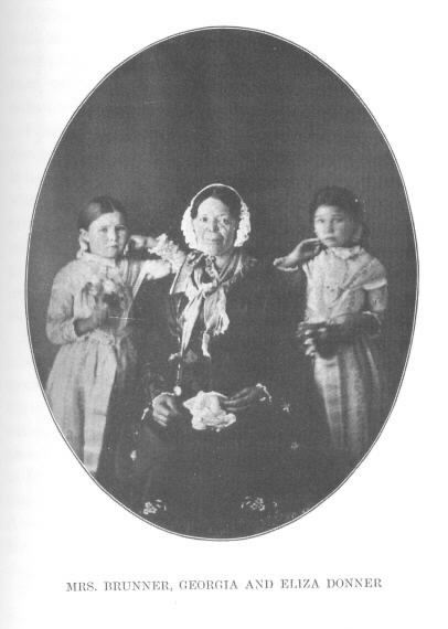Old photograph of Mary Brunner, Georgia and Eliza Donner