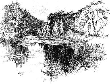 Drawing of Truckee River canyon